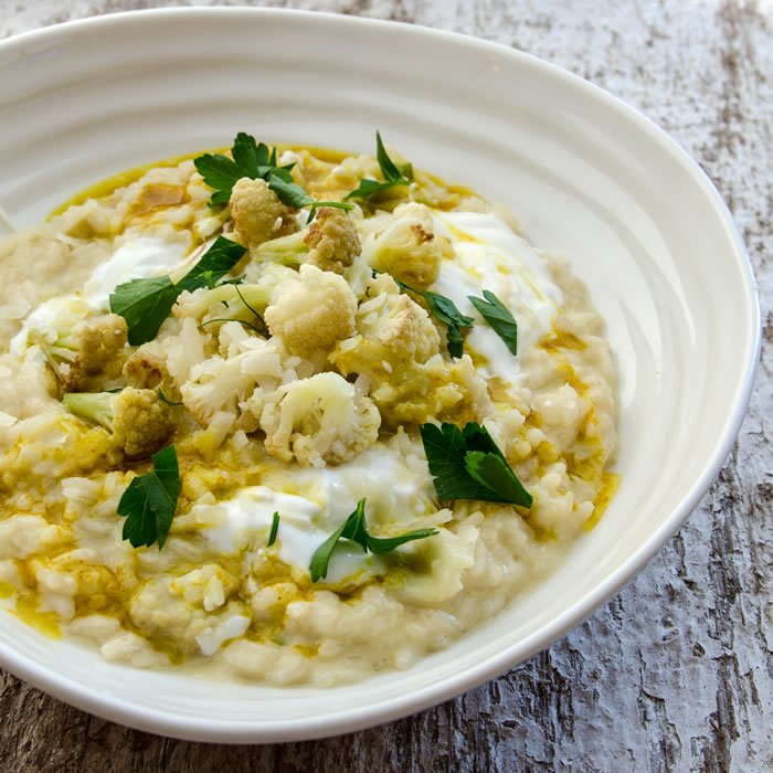 Risotto of Green Garlic, Cauliflower & Moroccan Spices