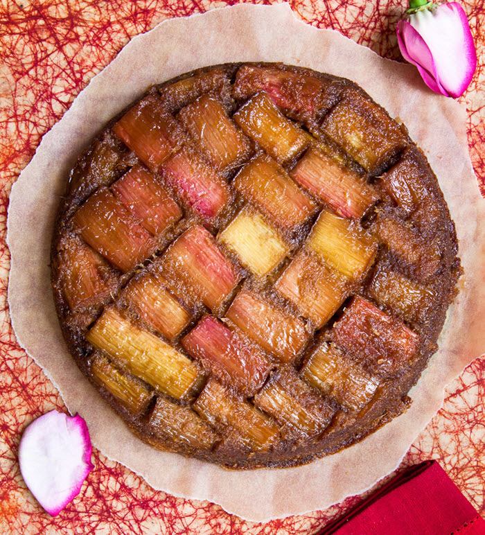 Rhubarb and Rose Upside Down Cake| LunaCafe