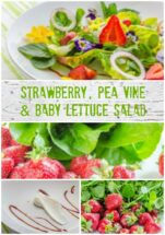 Strawberry, Pea Vine & Baby Lettuce Salad w Strawberry Balsamic Syrup | LunaCafe