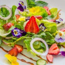 Strawberry, Baby Lettuce, & Pea Vine Salad with Strawberry Balsamic Vinaigrette