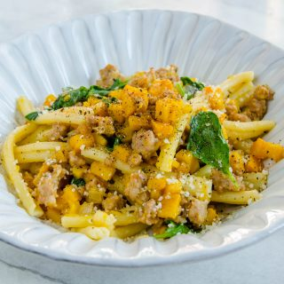 Cannolicchi with Crumbled Sausage, Caramelized Pumpkin & Fresh Rosemary