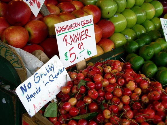 Rainer Cherries with No Grubby Hands Sign