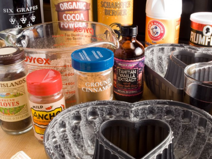 Ingredients for Bittersweet Chocolate and Cabernet Butter Cake