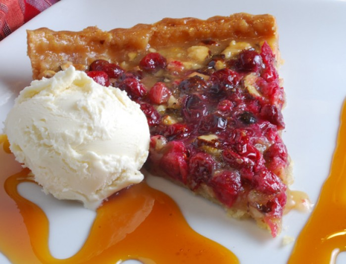 Hazelnut Honey Toffee Tart with Cranberry Variation