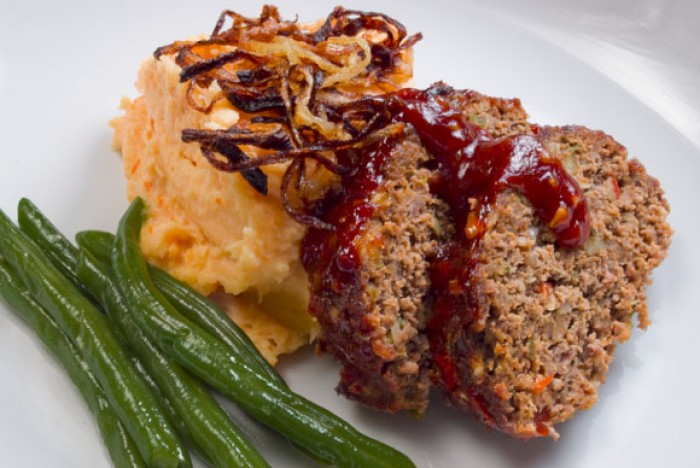 LunaCafe's Smokey Chipotle Meatloaf Shown with Potato Yam Mashers