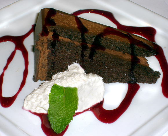 Chocolate Grappa Cake with Black Current Sauce from Serafina Seattle WA